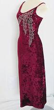 Burgundy Velvet Cacktail Dress Spaghetti Strap Silver Studs Rhinestones XS