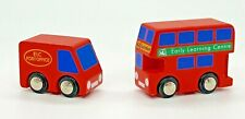 Early Learning 2 Vintage Wooden Toy Vehicles Double Decker Bus Mail Truck