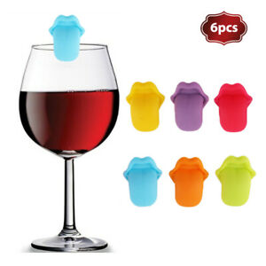 6Pcs Tongue Shape Wine Glass Silicone Label Recognizer Marker Cup Mark S HO