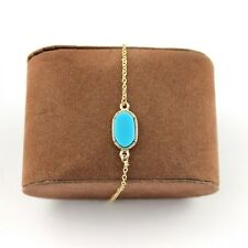 Anklet or Bracelet Aqua Teal Oval Acrylic Stone Gold Tone Chain Us Seller