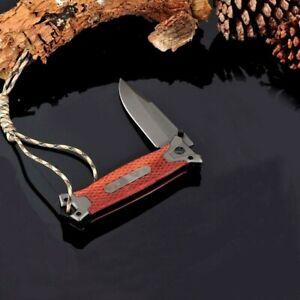 Drop Point Folding Knife Pocket Hunting Survival Combat Flipper Titanium Plated
