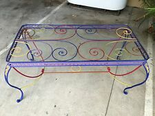 Vintage Wrought Iron Up Cycled Glass Top Dining Table In Moroccan Colours