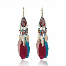 Bohemia Jewelry Boho Beads Feather Hook Drop Dangle Earrings Women Holiday gift
