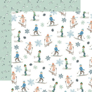 2 Sheets of Carta Bella Paper WINTER MARKET 12x12 Cardstock - Skiers
