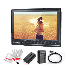 "US Feelworld FW760 7"" IPS 1920x1200 Peaking Focus Camera Field Monitor +Battery"