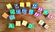 Lot of 21 Wood Alphabet Numbers Pictures Building Blocks Some Vintage & Disney