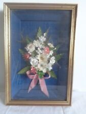 Vintage 3D Fabric Flower Bouquet Framed Picture Shabby Chic Home Decor
