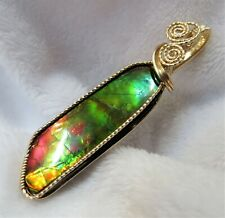 Canadian Ammolite Multi-Color Gemstone Pendant Slide Handcrafted in 14K GF