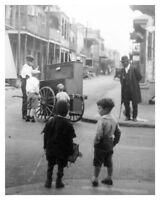 Vintage Silver Halide Photo Children Watch Hurdy Gurdy Organ Grinder New Orleans