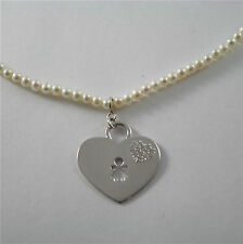 925 RHODIUM SILVER NECKLACE WITH FW WHITE PEARLS AND HEART GIRL PENDANT 18.11 IN