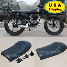Cafe Racer Hump Seat Saddle Waterproof Leather Retro Stitching Stripes Cover USA