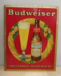 Vintage Budweiser Beer Metal Litho Sign Antique Old Brewery Bud Light #34 RARE