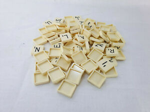 Spears Vintage Scrabble - Full Set of 100 Letter Tiles - Square Back - Spares p