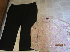 Inc plus size 24 black dress pants & Jones New York paisley top 2X lot j128