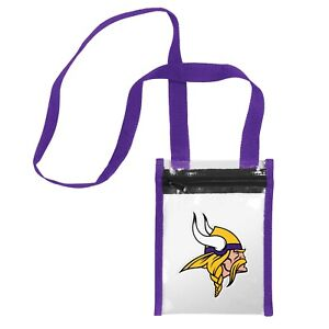 """Minnesota Vikings CLEAR Crossbody Tote Bag Purse Stadium Security Approved 8x6"""""""