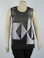 Harlow Ladies Sheer Sleeveless Sequin Top sizes 8 10 18 Colour Black