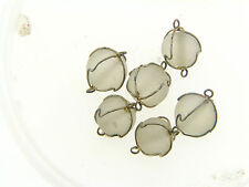 Vintage Clear Matte Frost Round Glass Silver Wire Wrapped Drops Connectors Beads