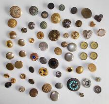 Big Lot 60 Vintage Metal Buttons Singles Sets Unique Gold Silver Copper Tones