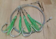 Deep Drop Rig - 400lb Wire (4) 15/0 Mustad Circle Hooks with Green Squid Skirts