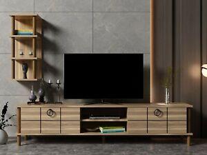 Walnut Colour TV Stand Unit Wooden Media Storage & Single Wall Unit-Lotus Walnut