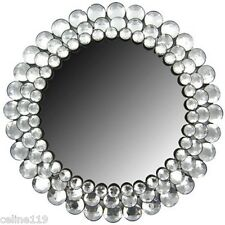 Modern Round Circle Chic Crystal BLING Gemstone Accented Wall Mirror Decor NEW!!