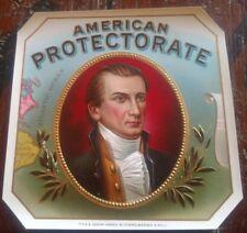 PRESIDENT JAMES MONROE AMERICAN PROTECTORATE OUTER CIGAR BOX LABEL ORIGINAL
