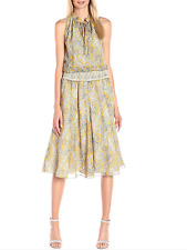 $345 ANTHROPOLOGIE CYNTHIA VINCENT MARIGOLD SMOCKED WAIST LINED MIDI DRESS Sz M