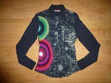 Women's Desigual Multi Print Long Sleeve Button Up Viscose Shirt Top Size S UK 8