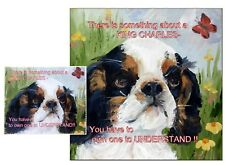 KING CHARLES SPANIEL HARDBOARD PLAQUE and LENS CLEANING CLOTH SANDRA COEN ARTIST