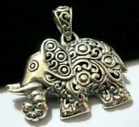 Vintage Style Sterling Silver Large Elephant Necklace PENDANT UK Hallmarked 8.6g