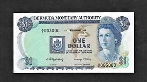 Bermuda p-28b, UNC, 1 Dollar, 1982, FANCY NUMBER 003000