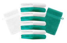Betz lot de 10 gants de toilette Premium: vert émeraude & blanc, 16 x 21 cm