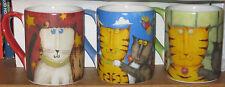 3  Whimsical Cats Gibson Mug Designed by Debi Hron Cat Lover Gift Red Blue Green