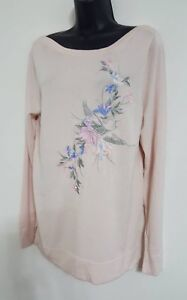 NEW Ex Bon Marche: Soft Pink Peacock Floral Print Fine knit Jumper Size S/M/L