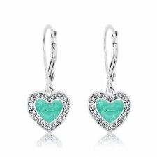 New 925 Sterling Silver White Gold Tone Mint Green Enamel Heart Kid's Earrings