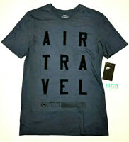 Nike Air Travel Tee Shirt Athletic Cut Mens Blue Black Training AJ7483-471 NWT
