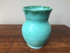 Vintage studio pottery vase with sea green glaze - 15cm