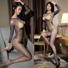 Sexy Ultra Thin Oil Shiny Full Bodyhose Bodysuit Glossy Transparent Bodystocking