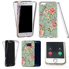 360° Silicone gel full body Case Cover for popular mobiles - elegant floral.