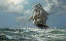 "Wall Decor Hd Print Sailboat Ship Oil painting Printed on canvas 16""X24"" P120"