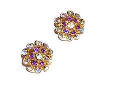 EARRINGS AB Iridescent Rhinestones Clip On AWESOME PURPLE/BLUE