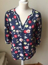 Sol Blue, Rose & yellow flower Tunic Top, Cotton, 3/4 Manche, size 8 Summer