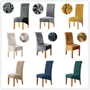Velvet Dining Chair Covers XL Size High Back Chair Slipcovers colour scheme