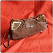Lancel Brown Soft Nubuck Wristlet Strap Clutch Pouch Bag