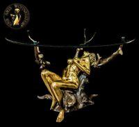 Bronze Skulptur Figur Erotik Tree Baum Girl Luxus Sofa Couch Tisch Möbel Braun