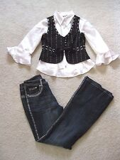 Custom Tap Dance 3PC Competition Costume Pageant Denim OOC Child Large CL 12