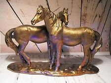 HORSE FIGURE FIGURINE STATUE TWO HORSE FIGURES GIFT BRONZE / OLD GOLD EFFECT NEW
