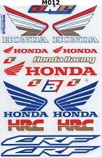 Racing Stickers Sheet Emblem Motorcycle Racing ATV  Honda Wings Logo B002