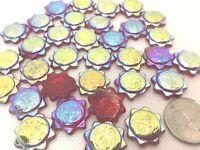 RED GLASS IRIDESCENT SUN GLOSSY BEADS 20.0 mm EUROPEAN CZECH PRESSED 15 PIECES