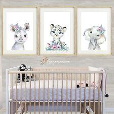 Safari tropical Nursery Wall Prints,Girls nursery wall prints,Safari Decor,